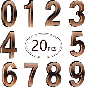 Hotop 20 Pieces Self-Adhesive Door House Numbers Mailbox Numbers Street Address Numbers for Mailbox Signs, 0 to 9 (Bronze,3 inch)