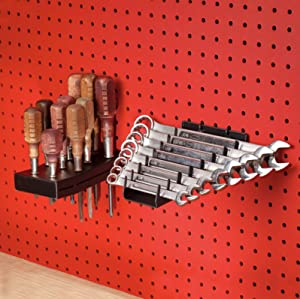 Full Metal Pegboard Screwdriver (Small & Medium) Holder & Wrench Holder Set | Heavy Duty Black Pegboard Accessories