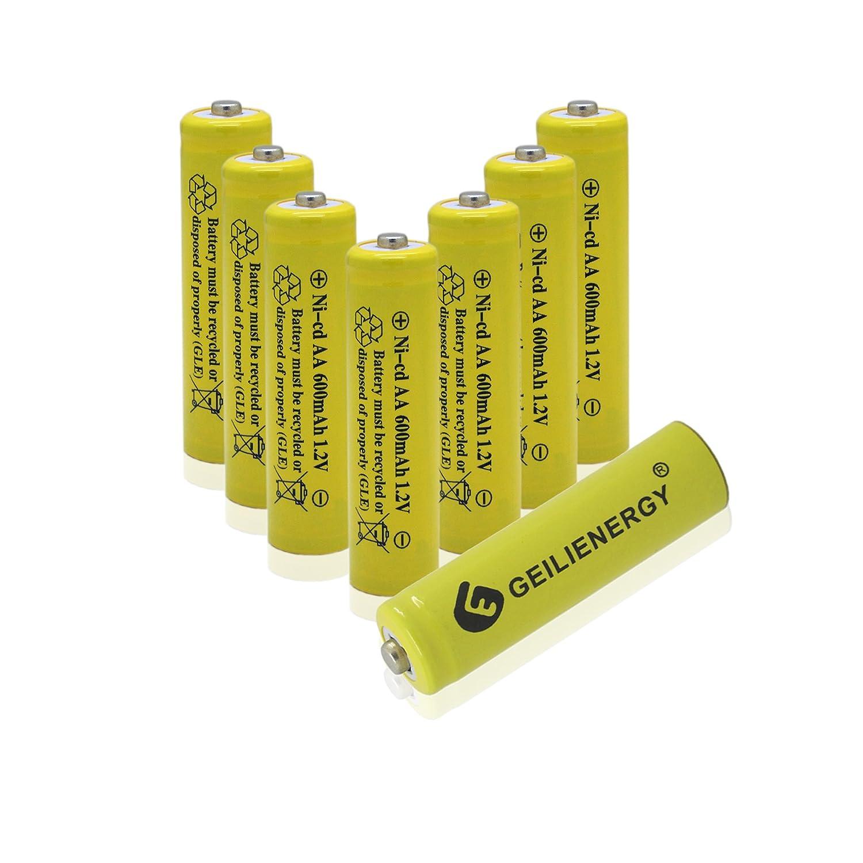 GEILIENERGY NICD AA 600mAh 1.2V Rechargeable Batteries for Solar Light,Solar Lamp,Garden Lights(8 PCS)