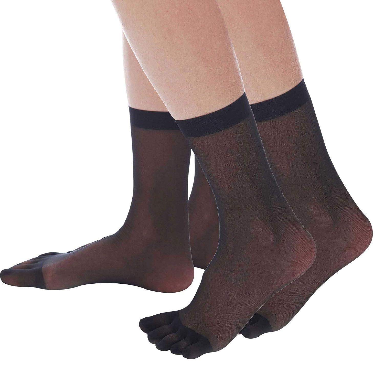 055c06da5 ElsaYX Women s Nylon Sheer Five Toes Ankle High Short Socks - 2 Pairs at  Amazon Women s Clothing store