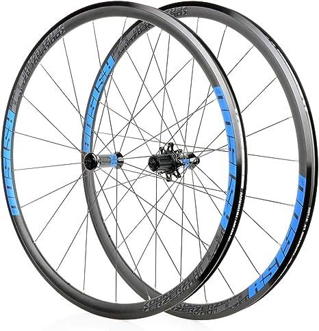 MZPWJD Rueda Bicicleta 700C Carretera Juego Ruedas Bicicleta Llanta Aleación Doble Pared 30 Mm QR Freno V/C 7 Palin 7-11 Velocidad 1740g (Color : Blue Wheel Set): Amazon.es: Deportes y aire libre