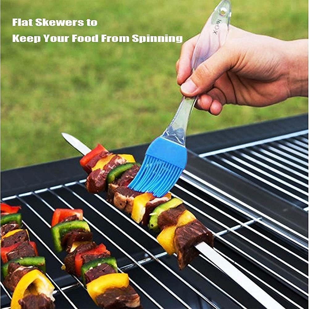 Set of 24 Reusable BBQ Sticks with Portable Skewer Container Tube ,Stainless Steel Flat Metal Grilling Skewers Set Ansuyai BBQ Barbecue Skewers