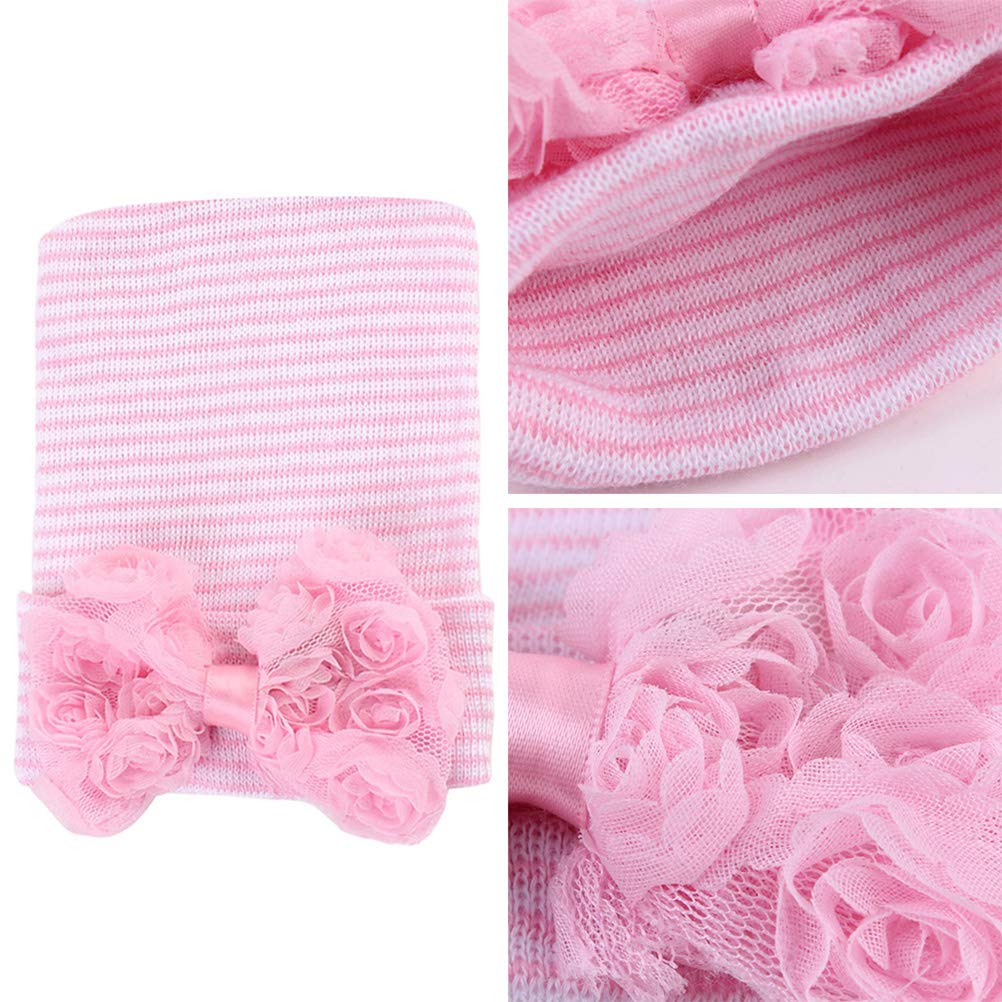 Stylish Rose Big Bowknot Knitted Cap Headwear Fetus Cap for Baby Kids Children Blue