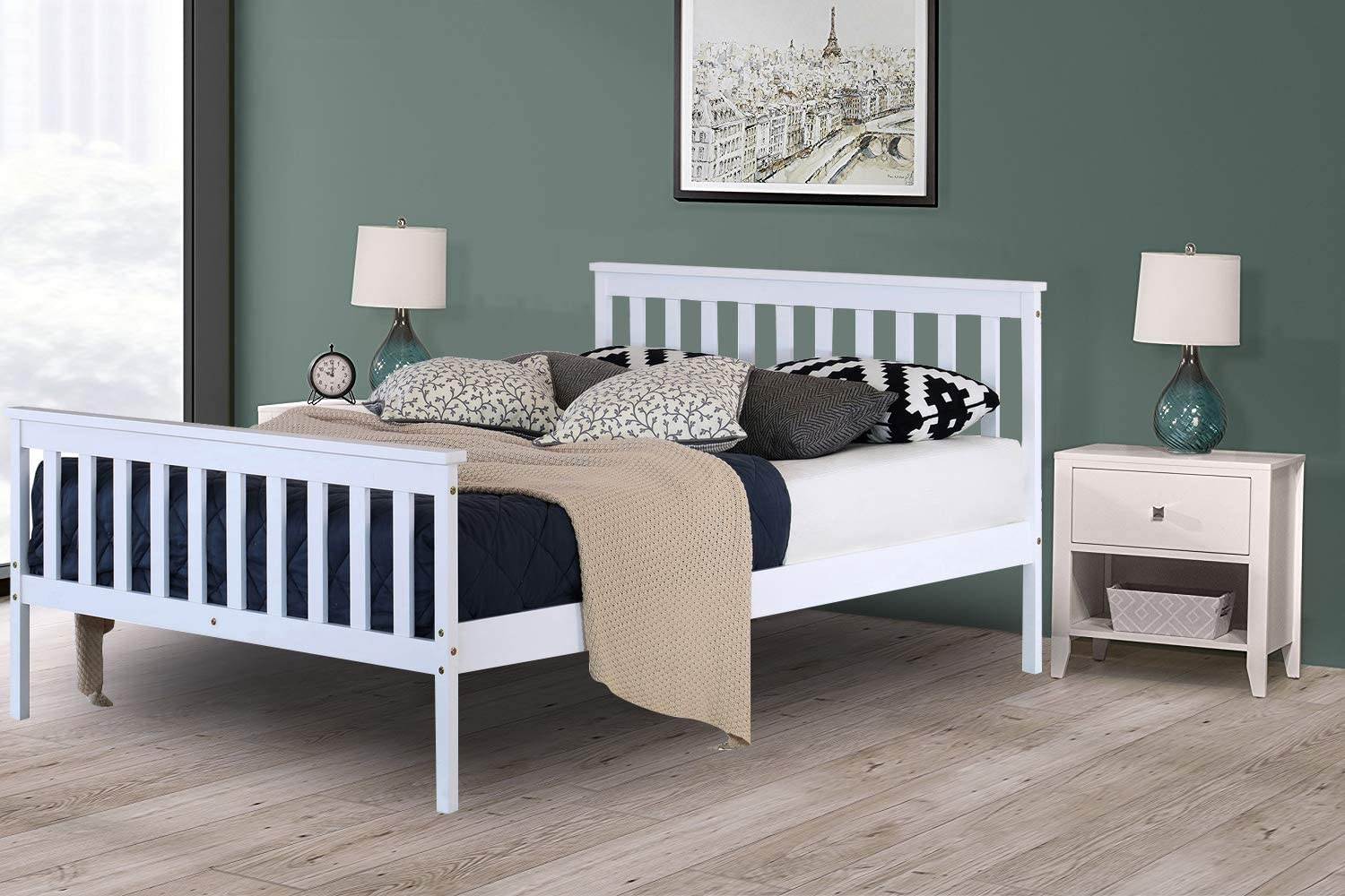 Xeohome Small Double Bed Wooden Frame 4ft White Finished Solid Pine Solid Headboard High Foot End Bedroom Furniture Perfect For Adults Kids Teenagers King Amazon Co Uk Kitchen Home