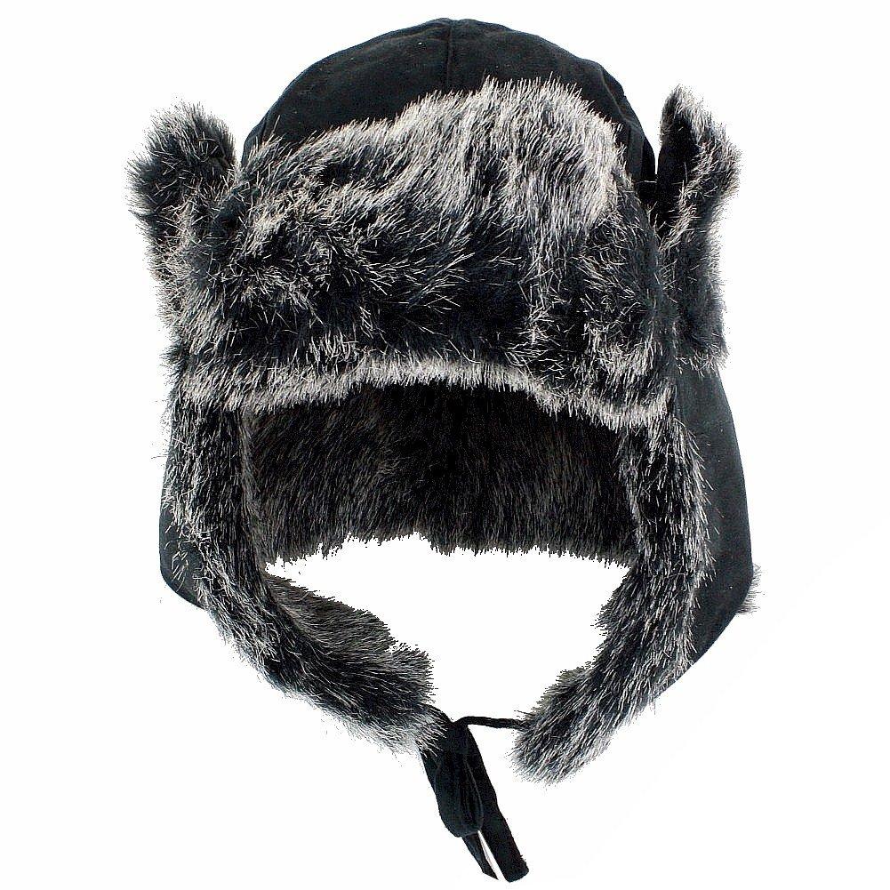 SCALA Pronto Women's Suede/Fur Trooper Hat Black