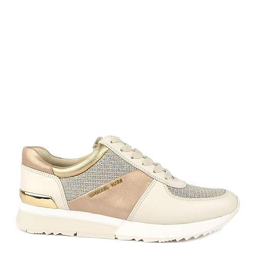 MICHAEL by Michael Kors Allie Pale Gold Zapatillas de Cuero Beige y Dorado, Zapatillas de Mujer: Amazon.es: Zapatos y complementos
