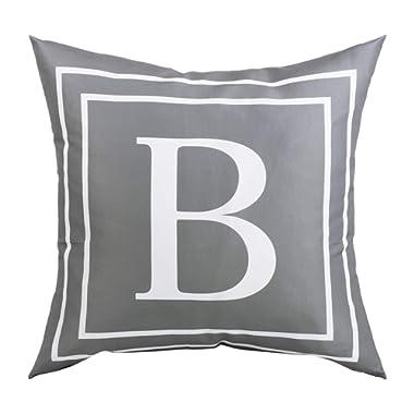 BLEUM CADE Gray Pillow Cover English Alphabet B Throw Pillow Case Modern Cushion Cover Square Pillowcase Decoration for Sofa Bed Chair Car 18 x 18 Inch