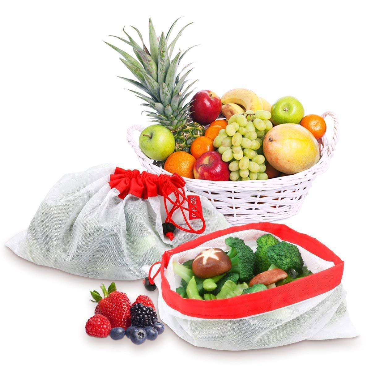 POWERbeast Reusable Grocery Bags Eco Friendly Washable Produce Mesh Bags with Drawstrings for Shopping & Storage Fruit Vegetable and Toys,Set of 12