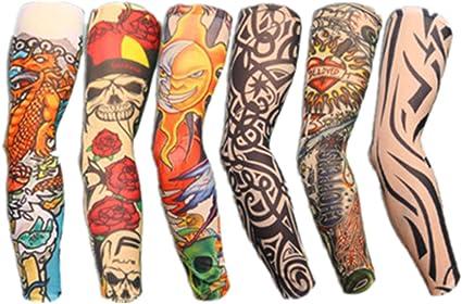 Autek - Pack 6 Juego de mangas con diseño de tatuajes, tatuajes ...