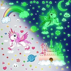 Glow in The Dark Stars Glowing Unicorn Wall Decals Glowing Unicorn Wall Stickers with Stars Moon Castle Rainbow Planet Heart Room Decor for Girls Bedroom Ceiling Baby Nursery Room