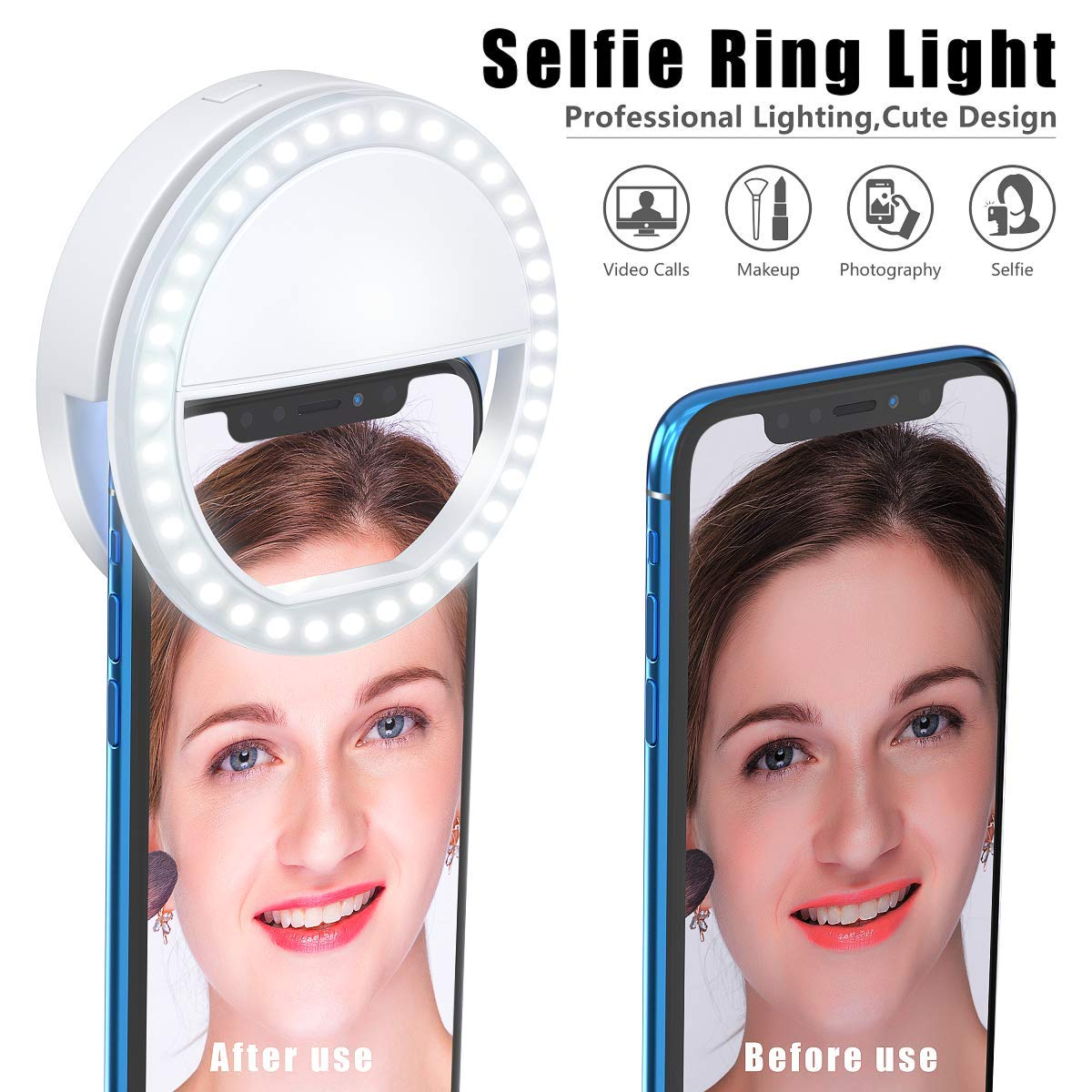 Meifigno Selfie Phone Camera Ring Light with [Rechargeable] 36 LED Light, 3-Level Adjustable Brightness On-Video Lights Clips On Night Makeup Light Compatible for iPhone Samsung Photography (White) by Meifigno (Image #4)