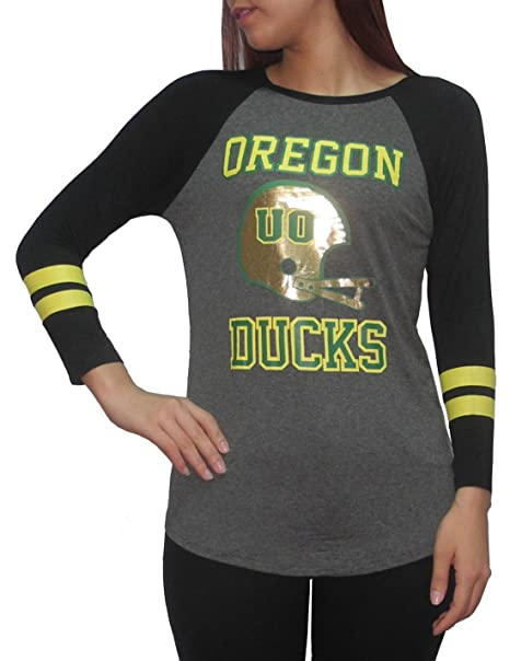 Amazon Com Oregon Ducks Ncaa Womens 3 4 Sleeve T Shirt Foil Print