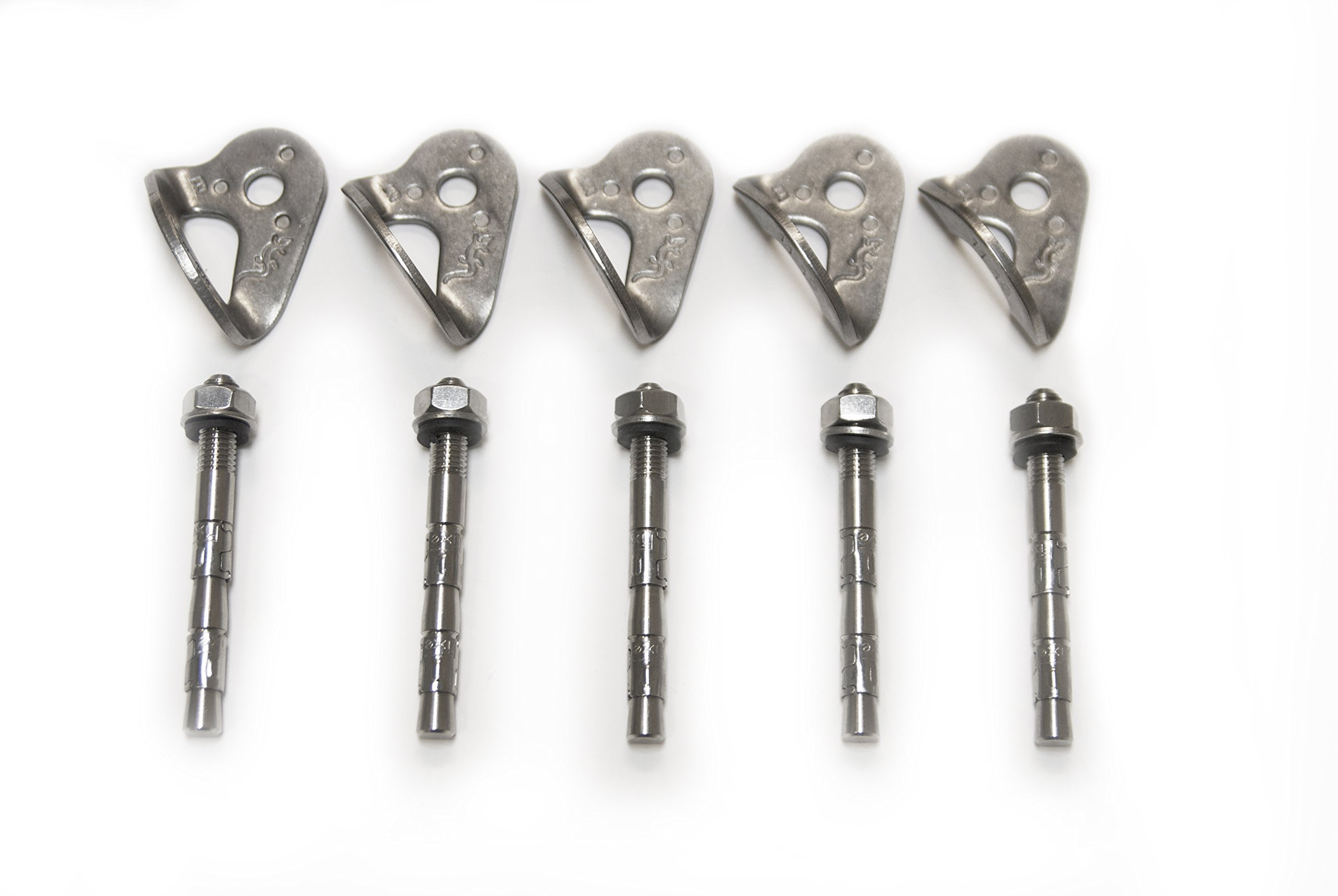 Bolting Kit for Climbing | 5 Pack Double Wedge Bolts with Hangers