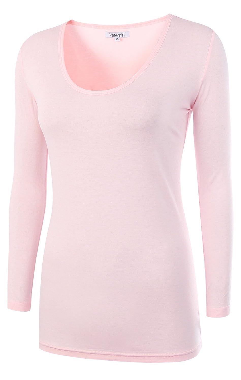Ballerina Vetemin Women's Basic Fitted Soft Lightweight 3 4 Sleeve Deep V Neck T Shirt Tee