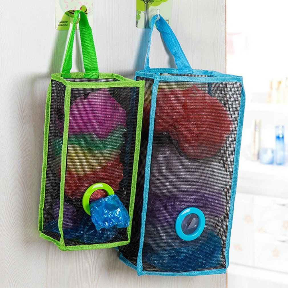Set of 2 Wall Mount Plastic Bags Holder Hanging Grocery Bag Container Plastic Grocery Bag Saver Mesh Grocery Bag Dispenser for Kitchen (with Sucker Hook) Greenlive BL001