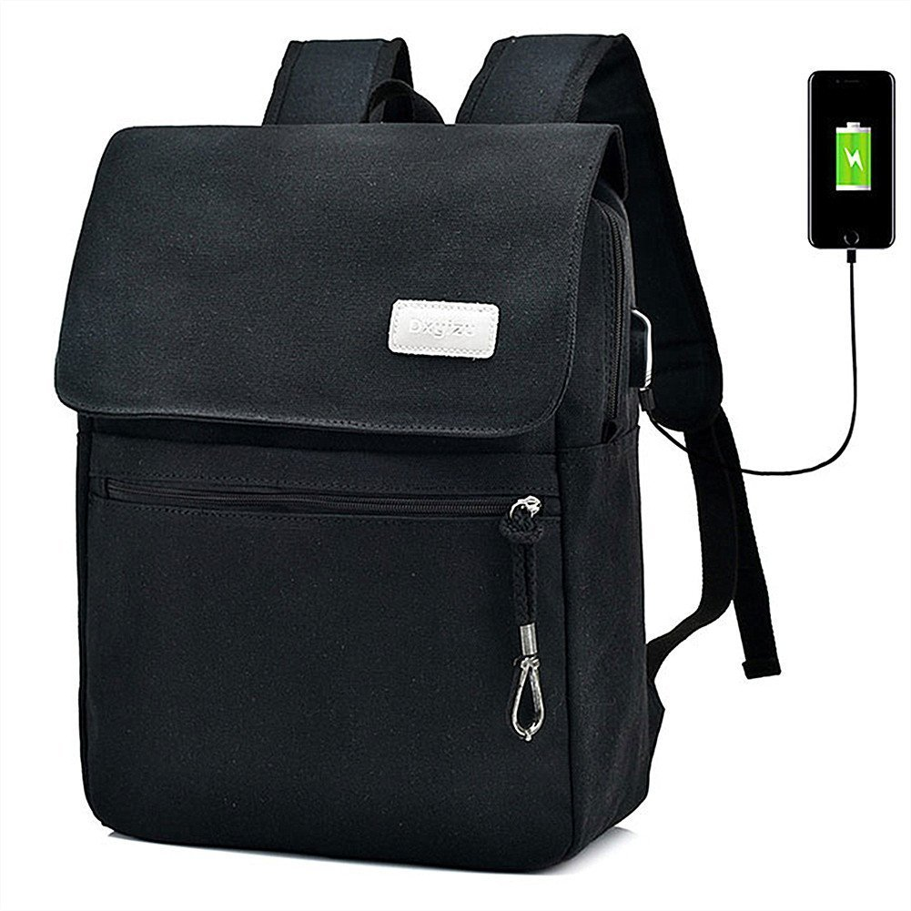 Gohyo Canvas Laptop Backpack with USB Charging Port Vintage Computer Bag for Travel College School, 14.9 x 11.4 x 5.1 inches (Black)
