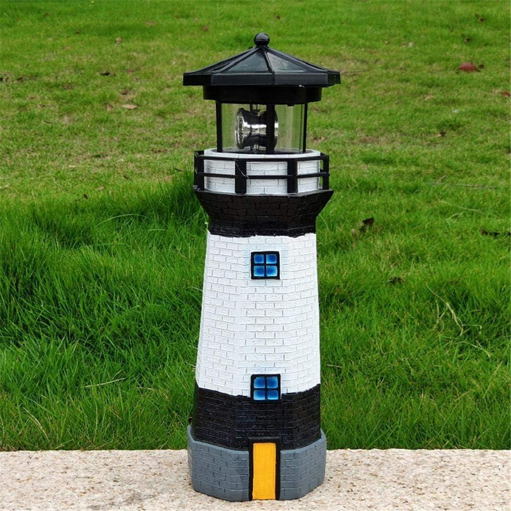 N/Z Solar Lighthouse with Rotating Lamp Decorative Lighthouse Solar Nautical Lighthouse Statue with Spinning Light, Ocean and Beachhouse Inspired Decor