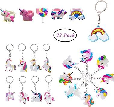 SUNSHINETEK Llavero de Unicornio 22 Unidades Anillos de Arco Iris Llaveros de Unicornio Decoración de Fiesta de cumpleaños Regalos para niños (22 Patrones): Amazon.es: Juguetes y juegos