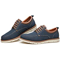 US Color : Blue, Size : 7.5 D M HYF Mens PU Leather Shoes Classic Lace Up Breathable Lined Oxfords Breathable