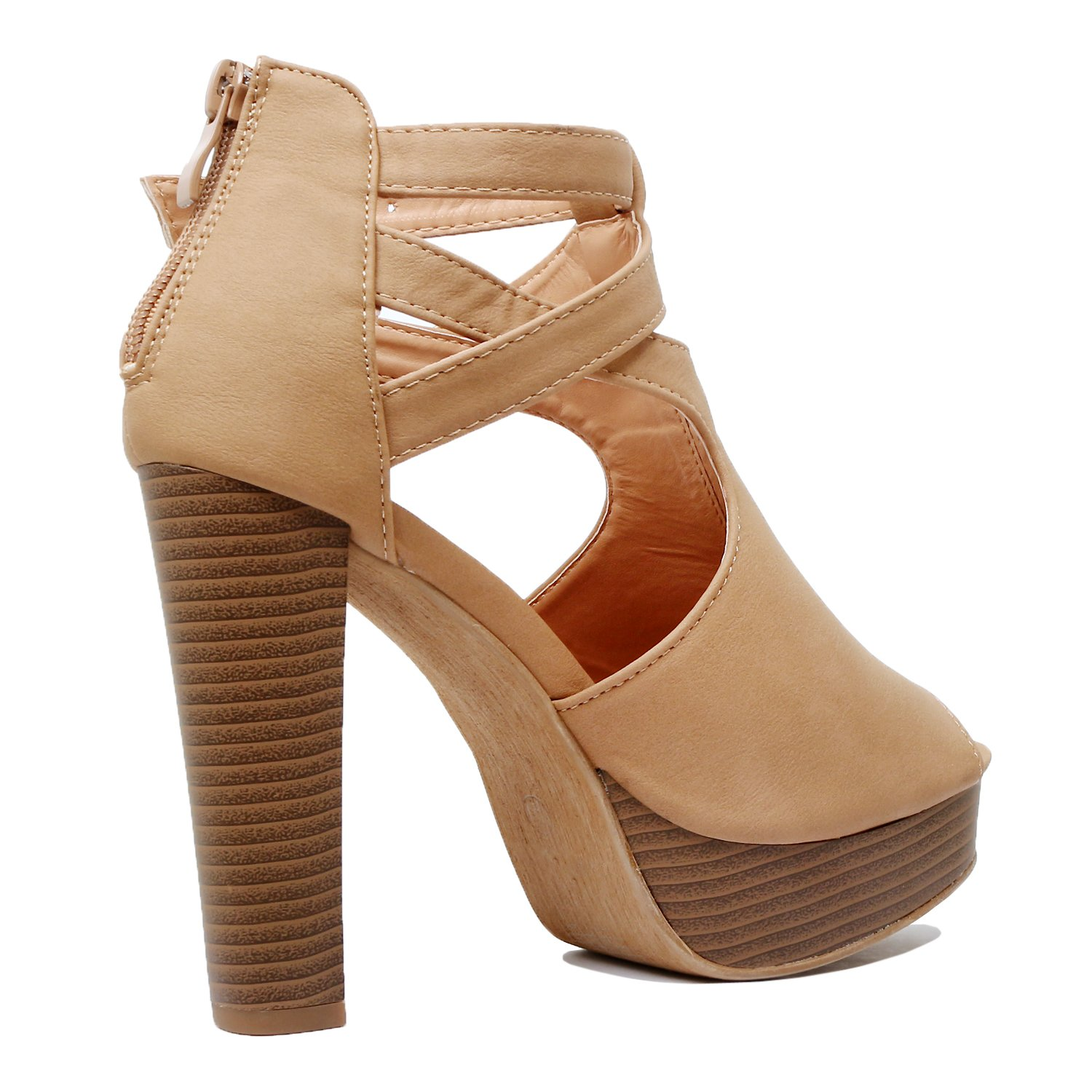 12d5560f0cb0f Guilty Shoes Cutout Gladiator Ankle Strap Platform Fashion High Heel Sandals   1540900841-61399  -  16.27