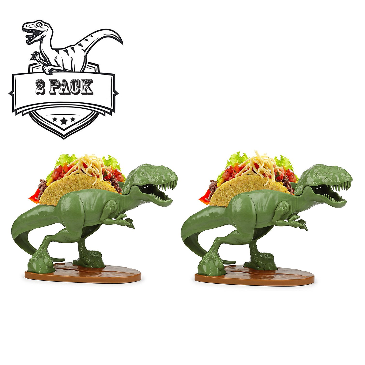 TACOsaurus Rex Taco Holder, Set of 2 - Dinosaur T-Rex Novelty Taco Stand Party Plate Serveware