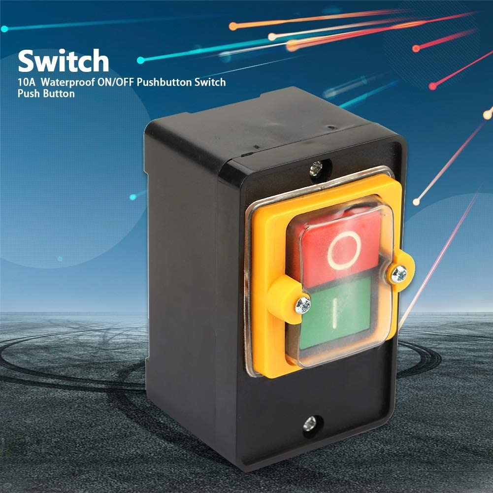Push Button Motor Start Stop Switch On Off Switch with Surface Waterproof Dustproof Box KAO-5 10A AC 220//380V