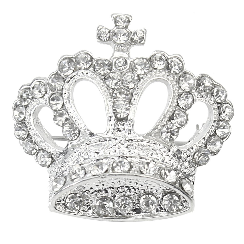 Exquisite Women's Rhinestone Crystal Silver Tone Crown Brooch Pin For Party ReFaXi
