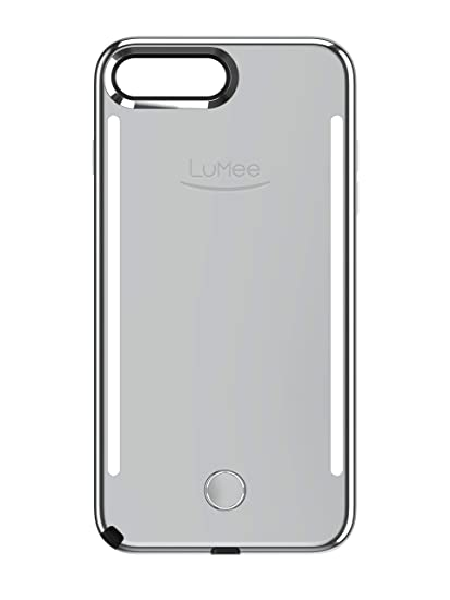 check out 1f529 e48e0 LuMee Duo Phone Case, Silver Mirror | Front & Back LED Lighting, Variable  Dimmer | Shock Absorption, Bumper Case, Selfie Phone Case | iPhone 8+ / ...
