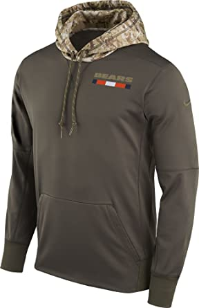 7fbfc9c59 Nike Chicago Bears Salute to Service Sideline Therma Pullover Hoodie  (Olive