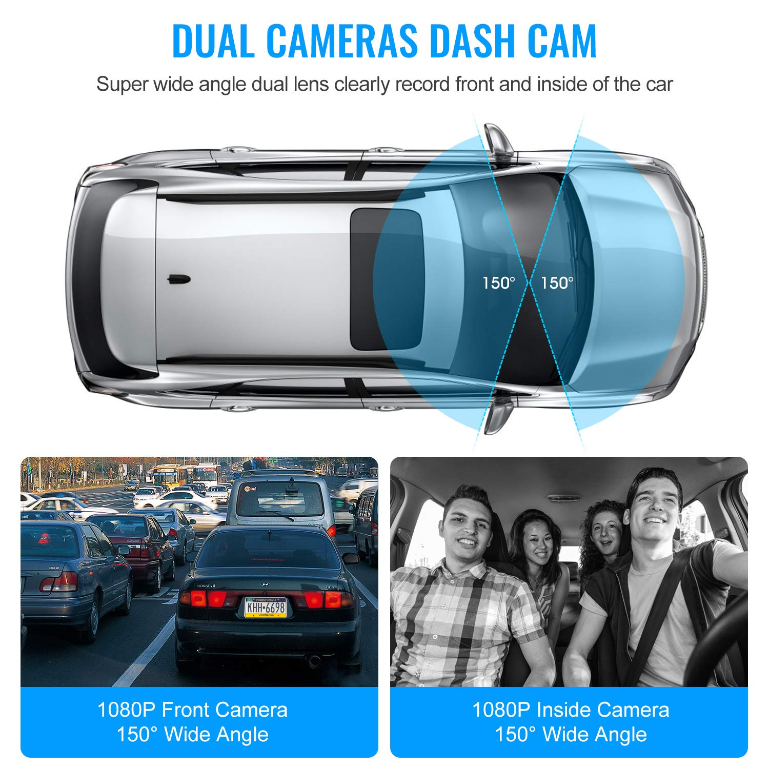 Upgraded Pruveeo P3 Dash Cam with Infrared Night Vision, Built-in GPS, WiFi, Dual 1080P Front and Inside, Dash Camera for Cars Uber Lyft Truck Taxi by Pruveeo (Image #7)