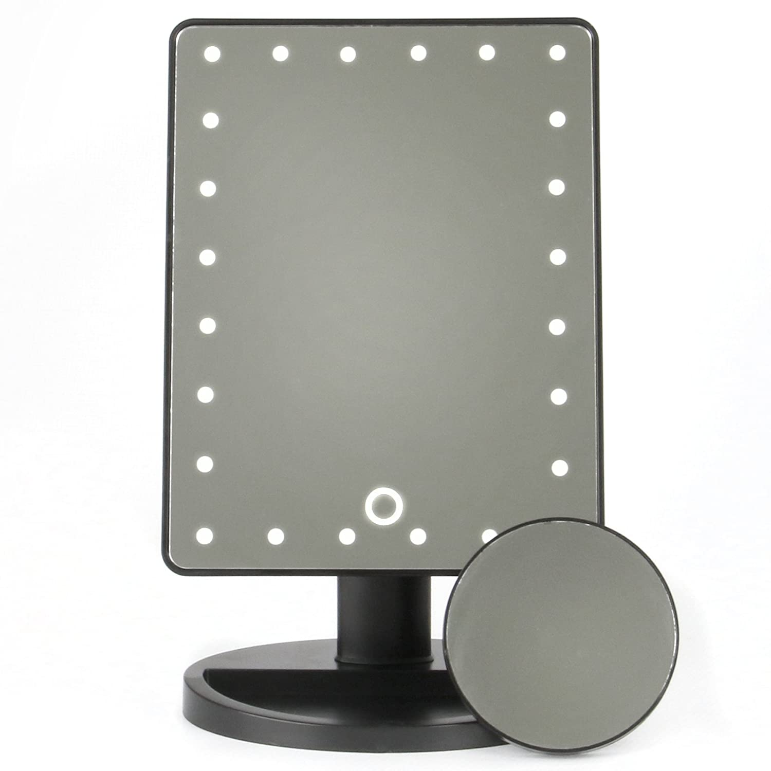 M/&W Black New LED Light Up Illuminated Make Up Bathroom Mirror With Magnifier