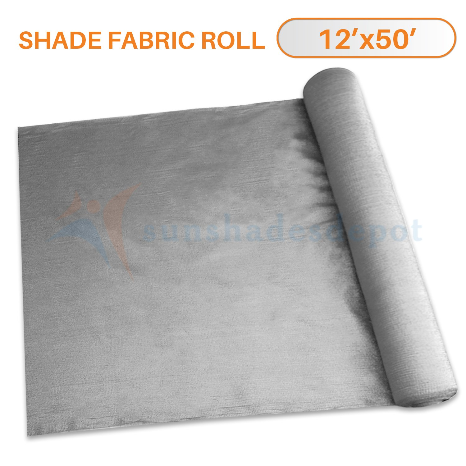 Sunshades Depot 12' x 50' Shade Cloth 180 GSM HDPE Light Grey Fabric Roll Up to 95% Blockage UV Resistant Mesh Net by Sunshades Depot