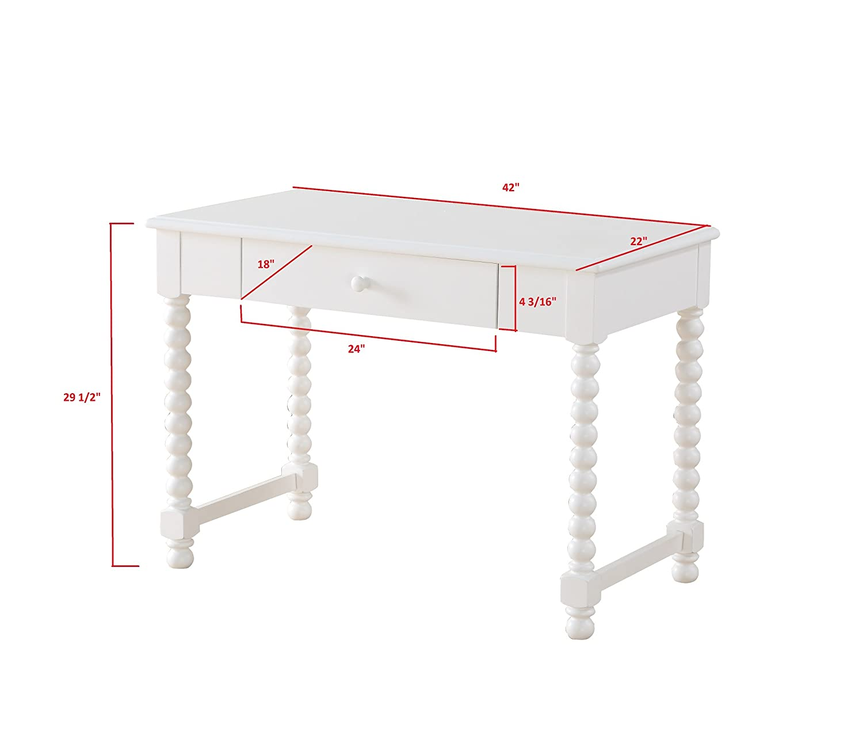 9e1283b538f4 Amazon.com  InRoom Furniture Designs - White Finish Wood Jenny Lind Writing  Desk  Kitchen   Dining