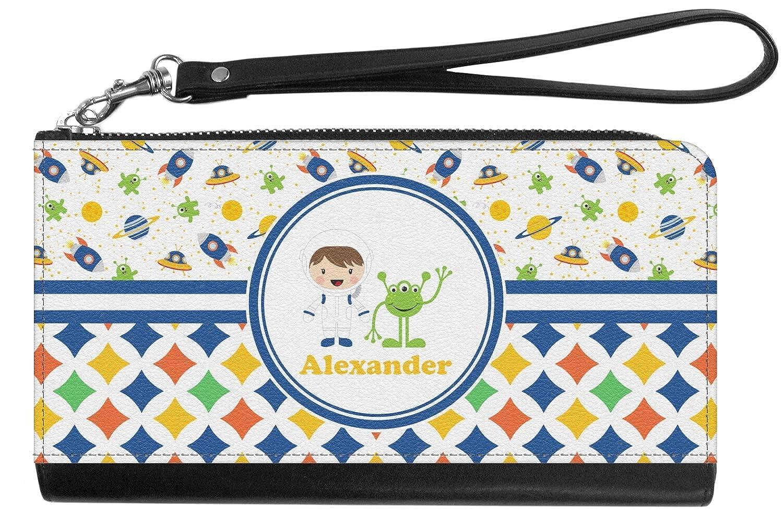 Personalized Boys Space /& Geometric Print Genuine Leather Smartphone Wrist Wallet