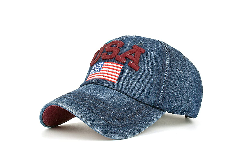 VLUNT Unisex American Flag Denim Adjustable Baseball Cap