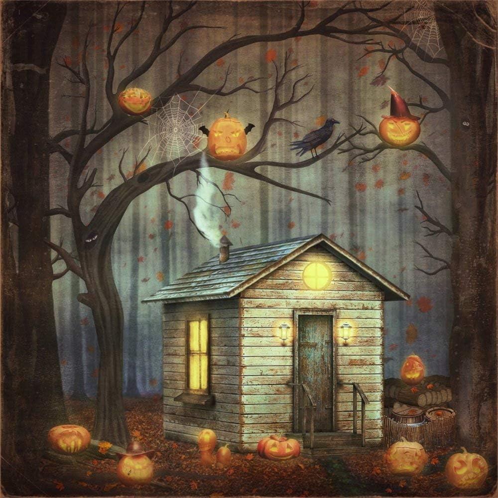 Happy Halloween Backdrop 10x10ft Vinyl Photography Background Creepy Green Light Scarey Devils Talons Grinning Pumpkin Huge Bat Shadow Scene Trick or Treat Horror Night Party Shoot Poster