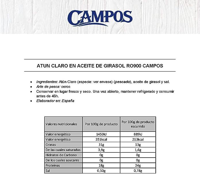 Campos, Conserva de atún de claro en aceite de girasol - lata de 900 gr.