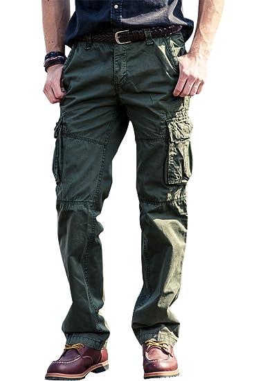 Hombre Pantalon Cargo Hombres Pantalones Cargo Militar Y Bolsillos Lavados De Algodon Ropa Ak Oz Com