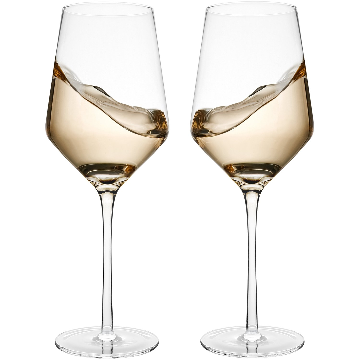 Hand Blown Crystal Wine Glasses - Bella Vino Standard Red/White Wine Glass Made from 100% Lead Free Premium Crystal Glass, 15.5 Oz, 9.1'', Perfect for Any Occasion, Great Gift, Set of 2, Clear