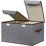 MeRaYo Linen Fabric Foldable Cloth Storage Organizer Box with Lid and Handles – Grey Color