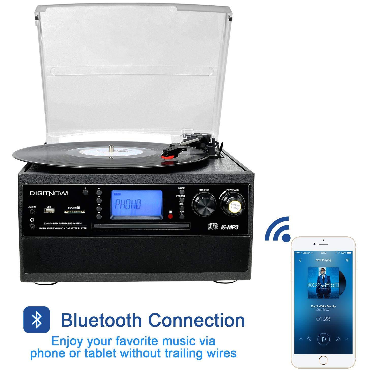 DIGITNOW! Tocadiscos Bluetooth Plato Giradiscos Plato Vinilo, CD, Cassette, Encoding, USB, SD, MMC, Am, FM, 3 velocidades, 33/45/78 RPM,con Dos ...
