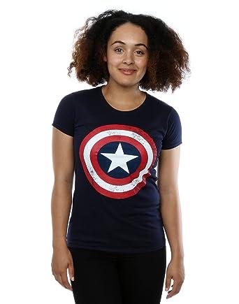 Femme America T Marvel Distressed Large Captain Marine Shield Shirt H2WDEY9I
