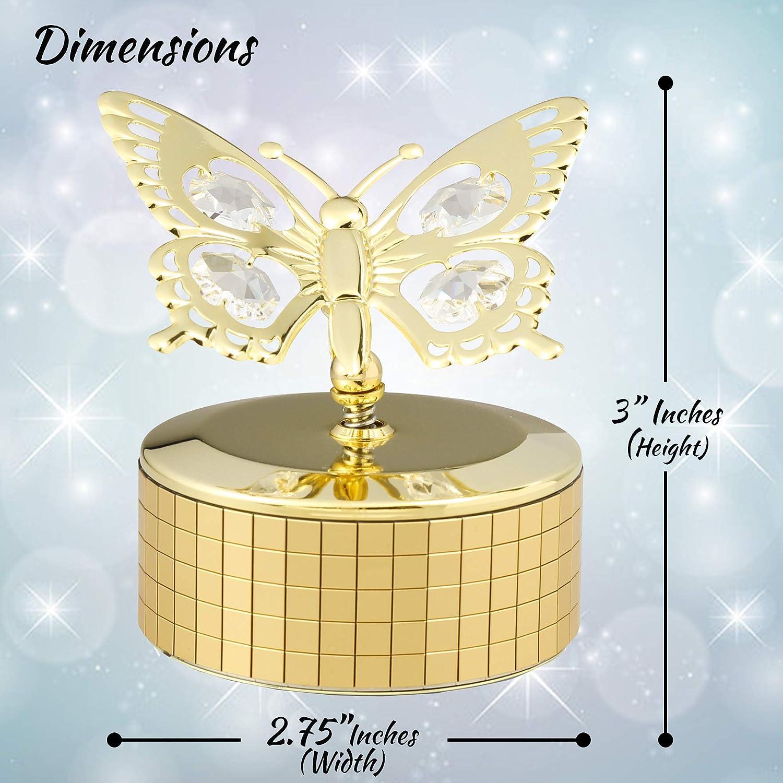Bo/îte /à Musique Avec Deux Papillons en Plaqu/é Or 24 Carats Fabriqu/é avec des Cristaux Matashi/®
