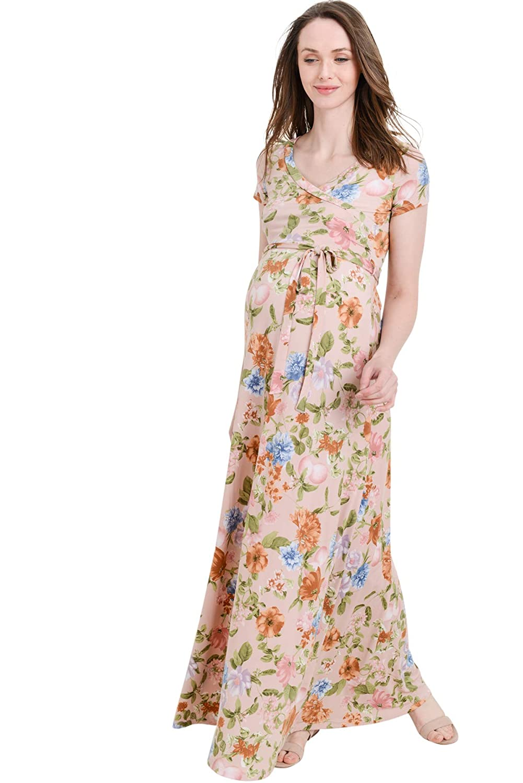 bluesh Floral Short Hello MIZ LaClef Women's Floral Print Draped 3 4 Sleeve Long Maxi Maternity Dress