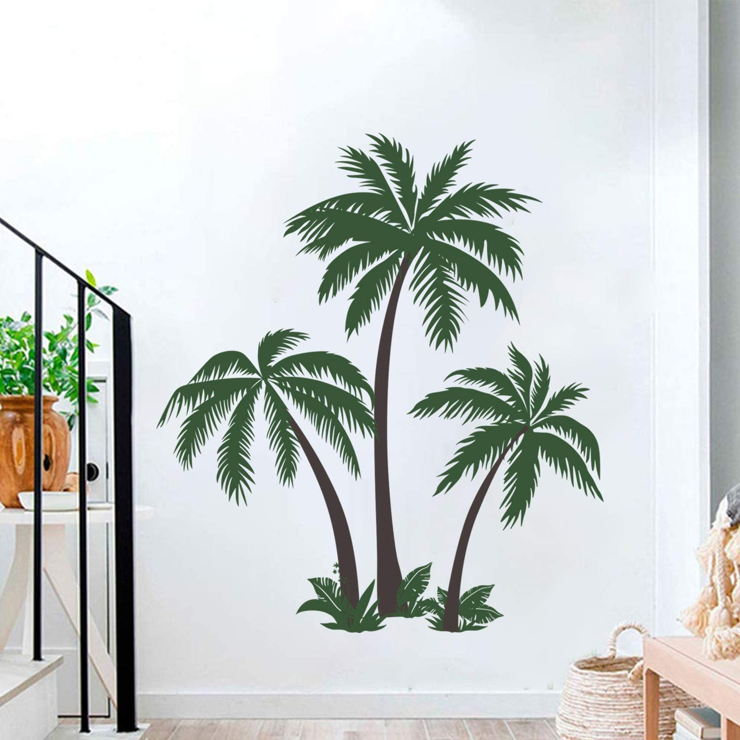 decalmile Large Palm Tree Wall Decals Tropical Tree Wall Stickers Bedroom Living Room TV Wall Art Home Decor (H: 49 Inch)