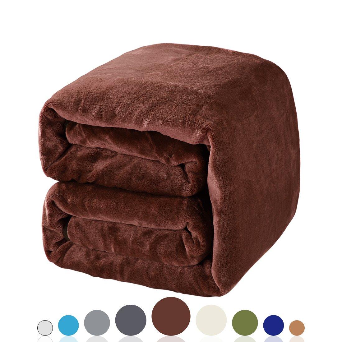 Balichun Luxury 330 GSM Fleece Blanket Super Soft Warm Fuzzy Lightweight Bed or Couch Blanket Twin/Queen/King Size(King,Brown)