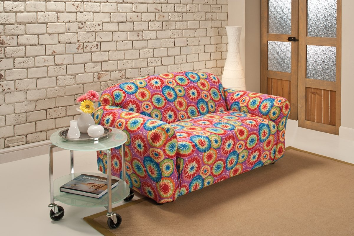 Madison Stretch Jersey Tie Dye Loveseat Slipcover, Geometric by Madison