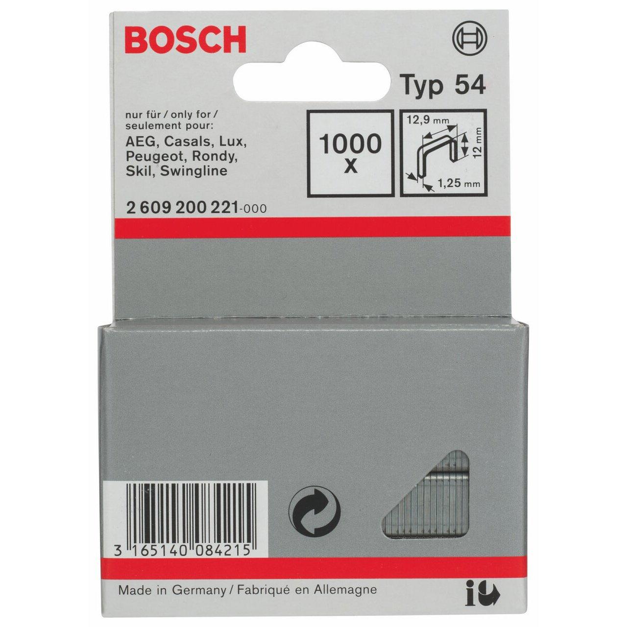 Grapa de alambre plano tipo 54-12,9 x 1,25 x 12 mm pack de 1000 Bosch 2 609 200 221