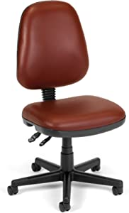 OFM Core Collection Straton Series Armless Swivel Task Chair, Anti-Microbial/Anti-Bacterial Vinyl, Mid Back, in Wine