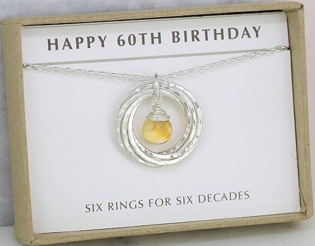 60th Birthday Gift For Her Citrine Necklace November Birthstone